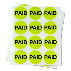 "PAID?Retail Price Point Labels Round Self Adhesive Stickers (Green / 1"" )"
