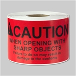 4 x 2 inch - Caution When Opening Stickers - Warning Stickers