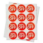 "30% Percent Off Sales Labels Self Adhesive Stickers (Red White / 1"" )"