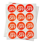 "25% Percent Off Sales Labels Self Adhesive Stickers (Red White / 1"" )"
