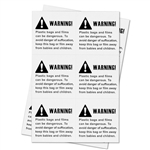 2 x 2 inch - Suffocation Warning Stickers