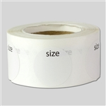 Round Blank Clothing Size Sticker