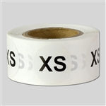 0.75 inch - Size XS | X-Small Stickers - Sizing Stickers
