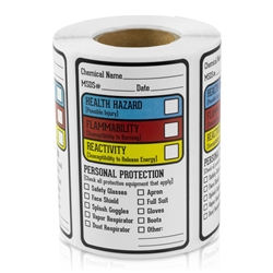 1.5 x 2.5 inch - Right to Know Chemical Stickers - Right to Know Chemical Labels