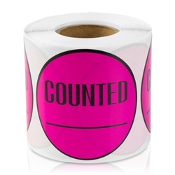 Counted Inventory Sticker Labels - Pink