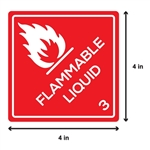 4 x 4 inch - Flammable Liquid Stickers - Class 3 Labels