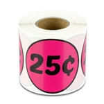 25 Cents Price Sticker Labels