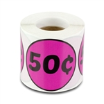 50 Cents Price Sticker Labels