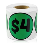 $4 Four Dollar Price Sticker Labels