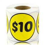 2 inch - $10 Ten Dollar Stickers - Pricing Stickers