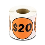 $20 Twenty Dollars Price Sticker Labels