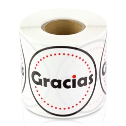 2 inch - Gracias Eqiquetas - Spanish for  Thank You Stickers