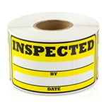 3 x 1.5 inch - Inspected By Stickers ( Yellow ) Inspected By Labels - Inventory Stickers