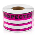 3 x 1.5 inch - Inspected By Stickers ( Pink ) Inspected By Labels - Inventory Stickers