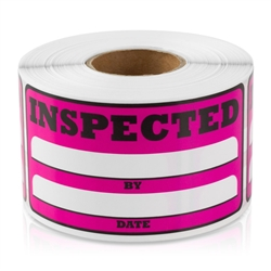 Inspected By Date Sticker Labels - Pink