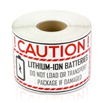 4 x 2 inch Caution Lithium Ion Battery Stickers - Caution Lithium Ion Battery Labels