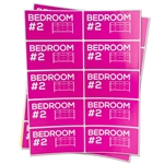 4 x 2 inch - Bedroom #2 Stickers - Moving Stickers