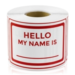 "2"" x 3 "" Hello My Name Is Stickers - Red"