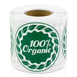 2 inch - 100% Organic Stickers - 100% Organic - Food Labels