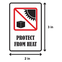2 x 3 inch - Protect From Heat Stickers - Protect From Heat Labels