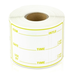 Item Use By Date Stickers - Yellow