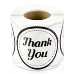 "Thank you 2"" Round Stickers - Black/White"