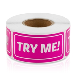 2 x 1 inch - Try Me Stickers - Try Me Labels