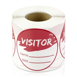 Visitor Name Date Stickers - Red