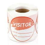 Visitor Name Date Stickers - Orange