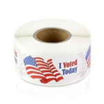 2 x 1 inch - I Voted Today USA Flag Oval Sticker - Voting Stickers