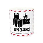 "4"" x 3"" Caution Lithium Ion Battery UN3481 Stickers Labels"