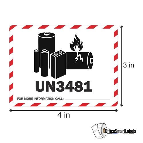 4 X 3 Caution Lithium Ion Battery Un3481 Stickers Labels