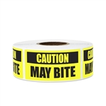 "2"" x 1"" Caution May Bite Dog Guard Dog Warning Stickers Labels"
