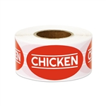 "1.75"" x 1"" Food Labeling: Chicken (Red) Stickers Labels"