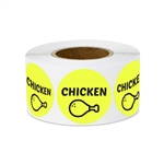 "1"" Food Labeling: Chicken (Yellow) Stickers Labels"