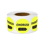 "1"" Food Labeling: Chorizo (Yellow) Stickers Labels"