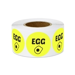 "1"" Food Labeling: Egg (Yellow) Stickers Labels"