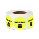"1"" Food Labeling: Hamburger (Yellow) Stickers Labels"