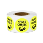 "1"" Food Labeling: Ham & Cheese Sandwich (Yellow) Stickers Labels"