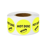 "1"" Food Labeling: Hot Dog (Yellow) Stickers Labels"