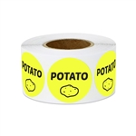 "1"" Food Labeling: Potato (Yellow) Stickers Labels"