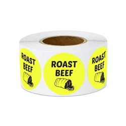 "1"" Food Labeling: Roast Beef (Yellow) Stickers Labels"