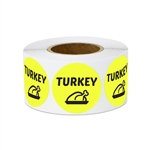 "1"" Food Labeling: Turkey (Yellow) Stickers Labels"