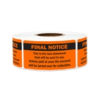 "2.25"" x 1"" Billing & Collections: Final Notice (Orange) Stickers Labels"