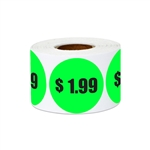 "1.5"" $1.99 One Dollar and 99 Cents Pricing Stickers Labels"
