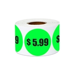 "1.5"" $5.99 Five Dollars and 99 Cents Pricing Stickers Labels"