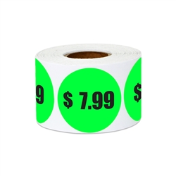 "1.5"" $7.99 Seven Dollars and 99 Cents Pricing Stickers Labels"