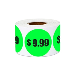 "1.5"" $9.99 Nine Dollars and 99 Cents Pricing Stickers Labels"