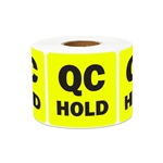 "2"" x 2"" Quality Control: QC Hold Stickers Labels"