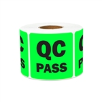 "2"" x 2"" Quality Control: QC Pass Stickers Labels"